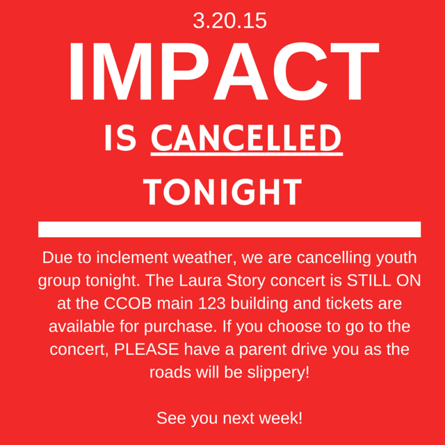 IMPACT IS CANCELLED TONIGHT: (3.20.15)